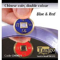 Chinese Coin (CH0021) Blue & Red by Tango Magic